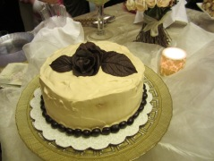 Chocolate Mocha Cake with Rose Garnish